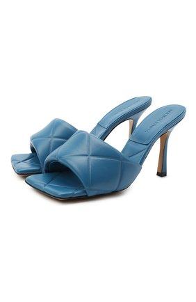 Женские кожаные мюли bv rubber BOTTEGA VENETA синего цвета, арт. 639943/VBP30   Фото 1
