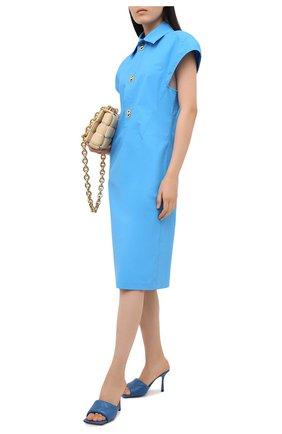 Женские кожаные мюли bv rubber BOTTEGA VENETA синего цвета, арт. 639943/VBP30   Фото 2