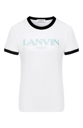 Женская хлопковая футболка LANVIN белого цвета, арт. RW-T0688J-JR40-H20   Фото 1
