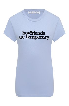 Женская хлопковая футболка OFF-WHITE голубого цвета, арт. 0WAA040F20JER0023610   Фото 1