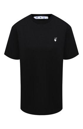 Женская хлопковая футболка OFF-WHITE черного цвета, арт. 0WAA049E20JER0091055   Фото 1
