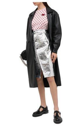 Женская кожаная юбка MARNI серебряного цвета, арт. G0MX0308U0/LA731 | Фото 2