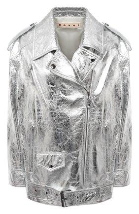 Женская кожаная куртка MARNI серебряного цвета, арт. JKMX0120HC/LA731 | Фото 1