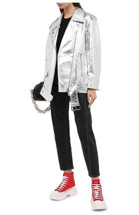Женская кожаная куртка MARNI серебряного цвета, арт. JKMX0120HC/LA731 | Фото 2