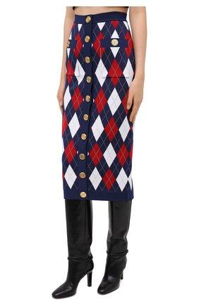 Женская юбка из вискозы BALMAIN разноцветного цвета, арт. UF04484/K196   Фото 3