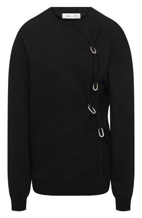 Женский хлопковый свитшот ACT N1 черного цвета, арт. PFF2001 | Фото 1