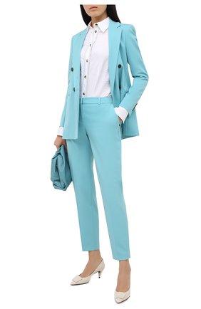 Женские шерстяные брюки BOSS бирюзового цвета, арт. 50440619 | Фото 2