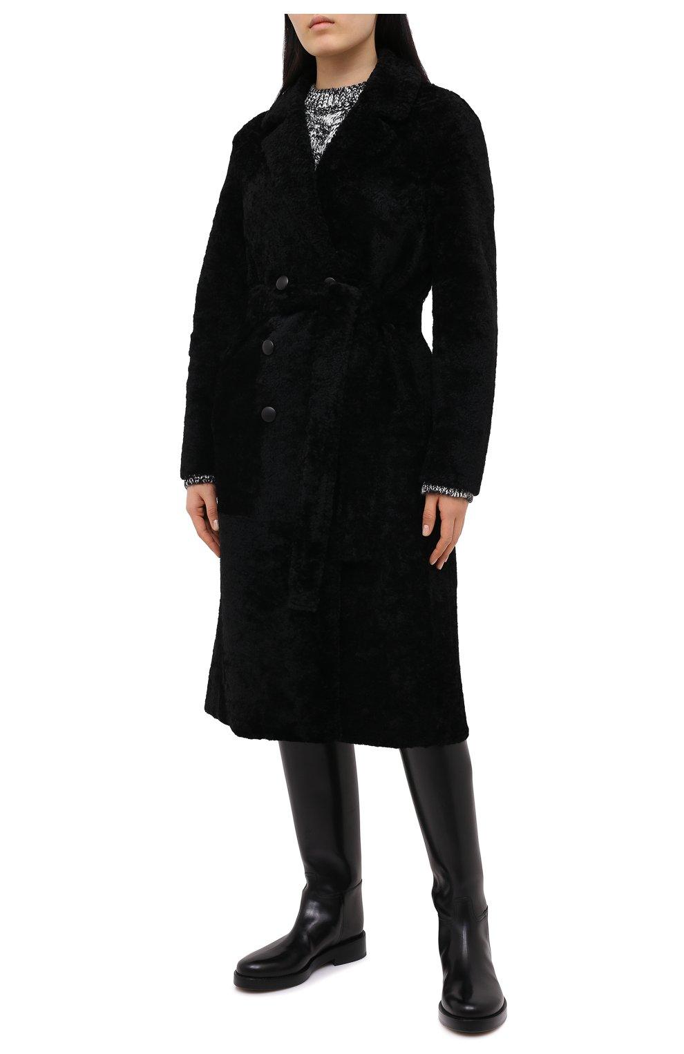 Женская шуба из овчины ANNE VEST черного цвета, арт. AW20/01/202/01/CL0E   Фото 3 (Женское Кросс-КТ: Мех; Рукава: Длинные; Материал внешний: Натуральный мех; Длина (верхняя одежда): Длинные; Стили: Кэжуэл)