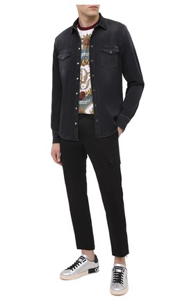 Мужские кожаные кеды portofino DOLCE & GABBANA серебряного цвета, арт. CS1772/AW151 | Фото 2