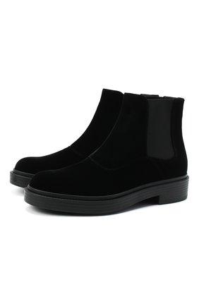 Мужские текстильные челси GIORGIO ARMANI черного цвета, арт. X2M321/XD167 | Фото 1 (Подошва: Плоская; Материал внутренний: Натуральная кожа; Материал внешний: Текстиль; Мужское Кросс-КТ: Челси-обувь, Сапоги-обувь)