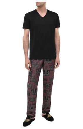 Мужского текстильные домашние туфли FARFALLA черного цвета, арт. GT15R | Фото 2
