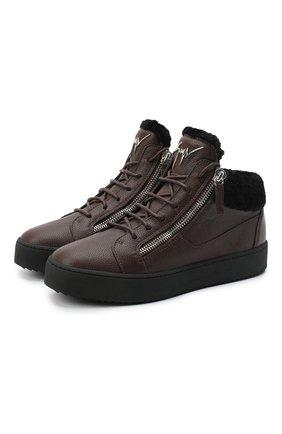 Мужские кожаные кеды cole GIUSEPPE ZANOTTI DESIGN темно-коричневого цвета, арт. RU00019/002 | Фото 1