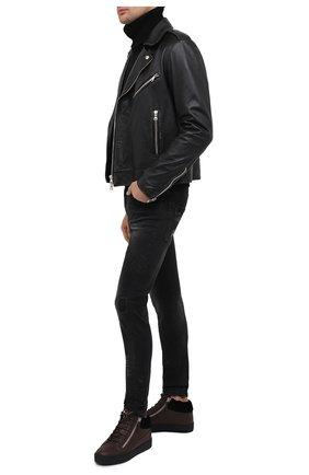 Мужские кожаные кеды cole GIUSEPPE ZANOTTI DESIGN темно-коричневого цвета, арт. RU00019/002 | Фото 2