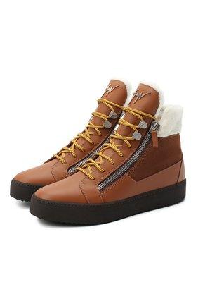 Мужские кожаные кеды trek GIUSEPPE ZANOTTI DESIGN светло-коричневого цвета, арт. RU00056/001 | Фото 1