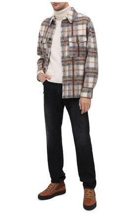 Мужские кожаные кеды trek GIUSEPPE ZANOTTI DESIGN светло-коричневого цвета, арт. RU00056/001 | Фото 2