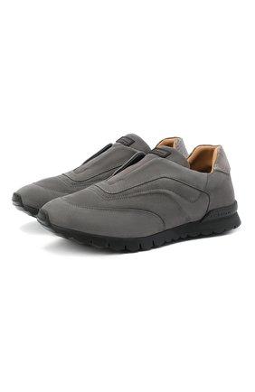 Мужские замшевые кроссовки KITON серого цвета, арт. USSFREEN00682/CNIL | Фото 1 (Материал внутренний: Натуральная кожа; Подошва: Массивная; Стили: Классический)