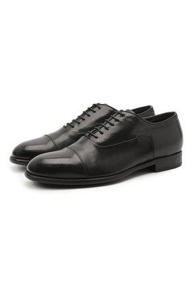 Мужские кожаные оксфорды PANTANETTI черного цвета, арт. 13985C   Фото 1