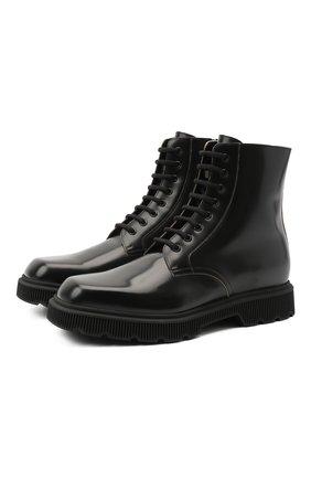 Мужские кожаные ботинки GUCCI черного цвета, арт. 624653/DS800 | Фото 1 (Материал внутренний: Натуральная кожа; Материал внешний: Кожа; Подошва: Массивная; Мужское Кросс-КТ: Ботинки-обувь)