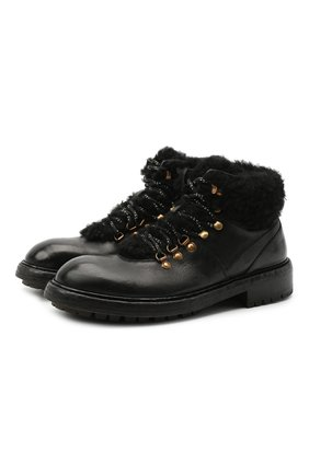 Мужские кожаные ботинки bernini DOLCE & GABBANA черного цвета, арт. A60326/AW952 | Фото 1