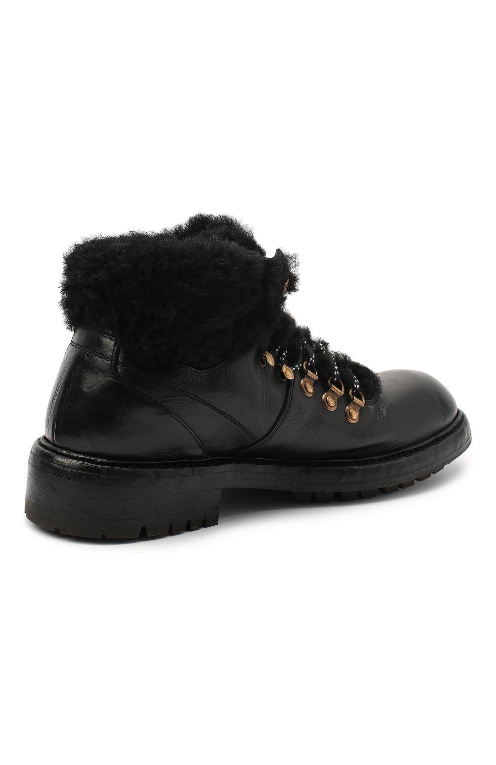 Мужские кожаные ботинки bernini DOLCE & GABBANA черного цвета, арт. A60326/AW952 | Фото 4