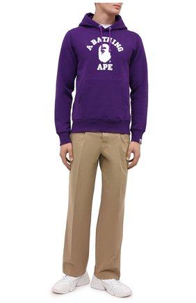 Мужской хлопковое худи BAPE фиолетового цвета, арт. 1G80114002 | Фото 2