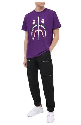 Мужская хлопковая футболка BAPE фиолетового цвета, арт. 1G80109011 | Фото 2