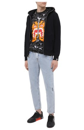 Мужская хлопковая футболка BAPE серого цвета, арт. 1G80109006   Фото 2