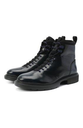Мужские кожаные ботинки HUGO темно-синего цвета, арт. 50441125 | Фото 1