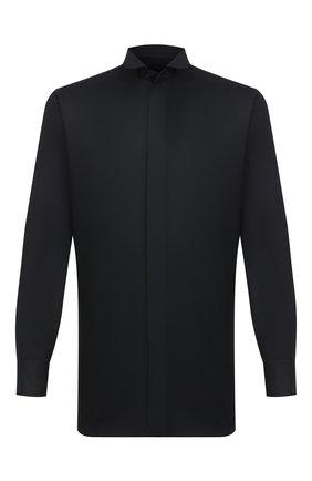 Мужская сорочка из хлопка и шелка BRIONI черного цвета, арт. RCX60M/0Z006 | Фото 1