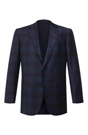 Мужской пиджак из шерсти и шелка BRIONI темно-синего цвета, арт. RGH00T/09A7P/PARLAMENT0 | Фото 1