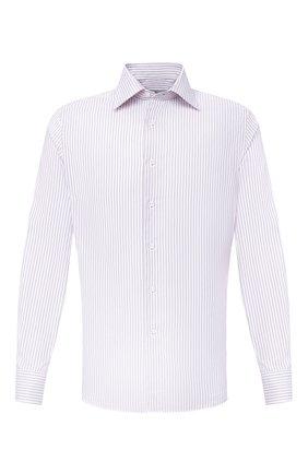 Мужская хлопковая сорочка CANALI светло-сиреневого цвета, арт. NX05/GR01919 | Фото 1 (Рукава: Длинные; Длина (для топов): Стандартные; Материал внешний: Хлопок; Случай: Формальный; Принт: Полоска; Стили: Классический; Воротник: Кент)