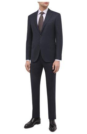 Мужская хлопковая сорочка CANALI светло-сиреневого цвета, арт. NX05/GR01919 | Фото 2 (Рукава: Длинные; Длина (для топов): Стандартные; Материал внешний: Хлопок; Случай: Формальный; Принт: Полоска; Стили: Классический; Воротник: Кент)