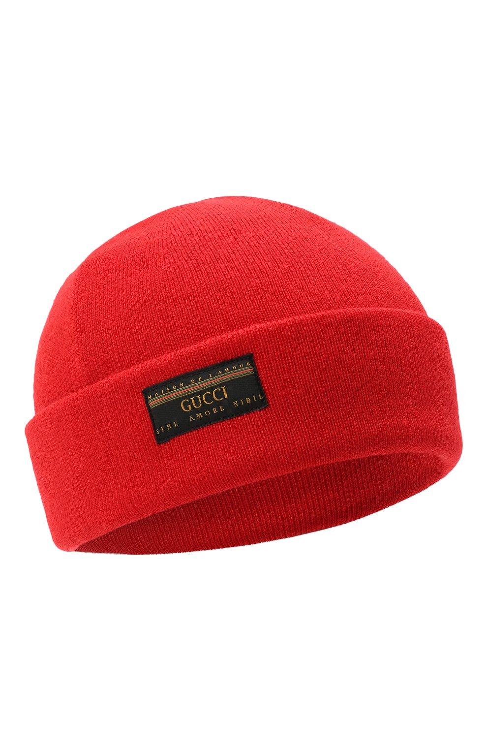 Мужская шерстяная шапка GUCCI красного цвета, арт. 612118/4G332 | Фото 1