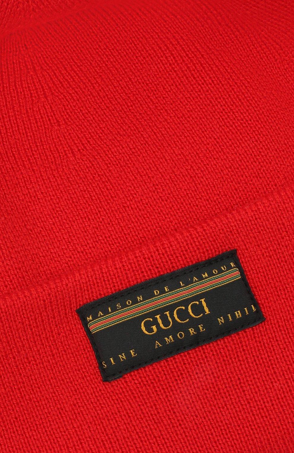 Мужская шерстяная шапка GUCCI красного цвета, арт. 612118/4G332 | Фото 3