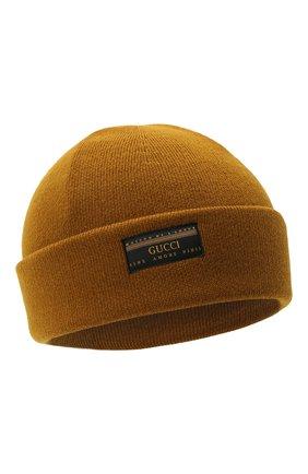 Мужская шерстяная шапка GUCCI хаки цвета, арт. 612118/4G332 | Фото 1