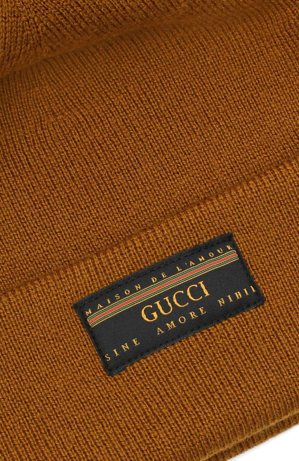 Мужская шерстяная шапка GUCCI хаки цвета, арт. 612118/4G332 | Фото 3