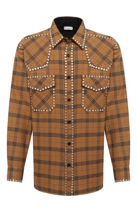 Мужская хлопковая рубашка DRIES VAN NOTEN светло-коричневого цвета, арт. 202-20723-1266 | Фото 1