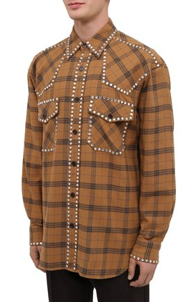Мужская хлопковая рубашка DRIES VAN NOTEN светло-коричневого цвета, арт. 202-20723-1266 | Фото 3