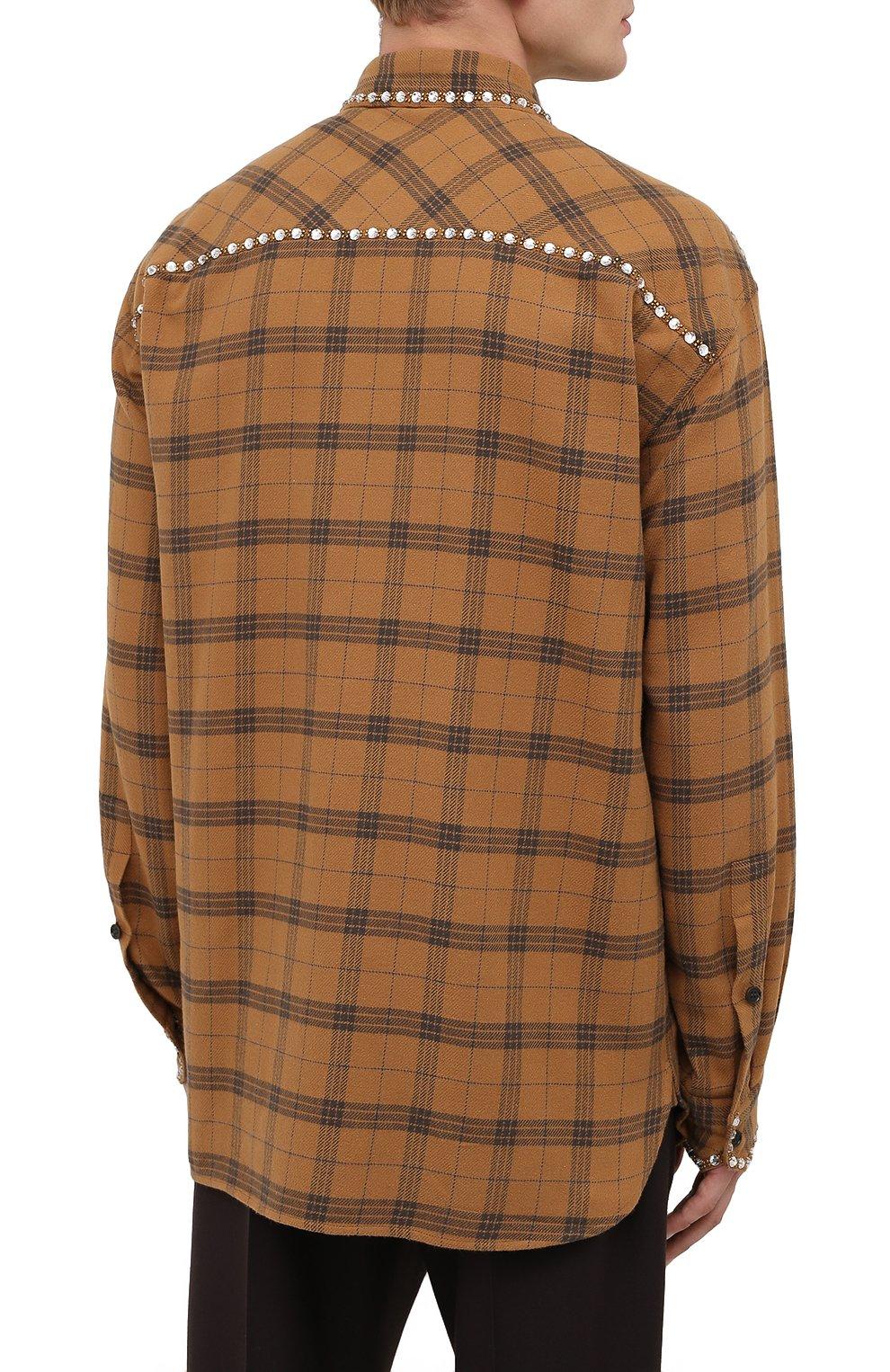Мужская хлопковая рубашка DRIES VAN NOTEN светло-коричневого цвета, арт. 202-20723-1266 | Фото 4