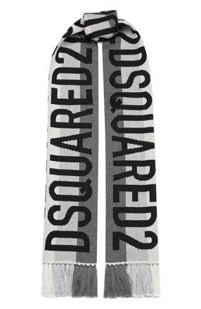 Мужской шерстяной шарф DSQUARED2 серого цвета, арт. KNM0051 01W03534 | Фото 1