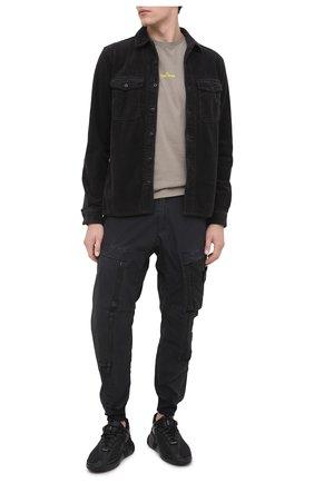 Мужская хлопковая рубашка STONE ISLAND темно-серого цвета, арт. 731512111 | Фото 2