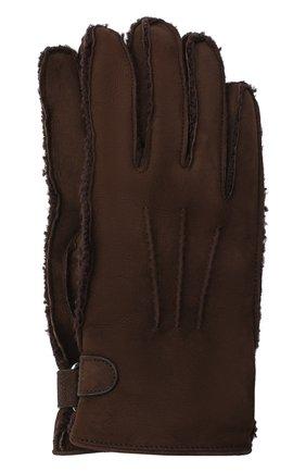 Мужские замшевые перчатки BRIONI темно-коричневого цвета, арт. 05SI0L/09727 | Фото 1