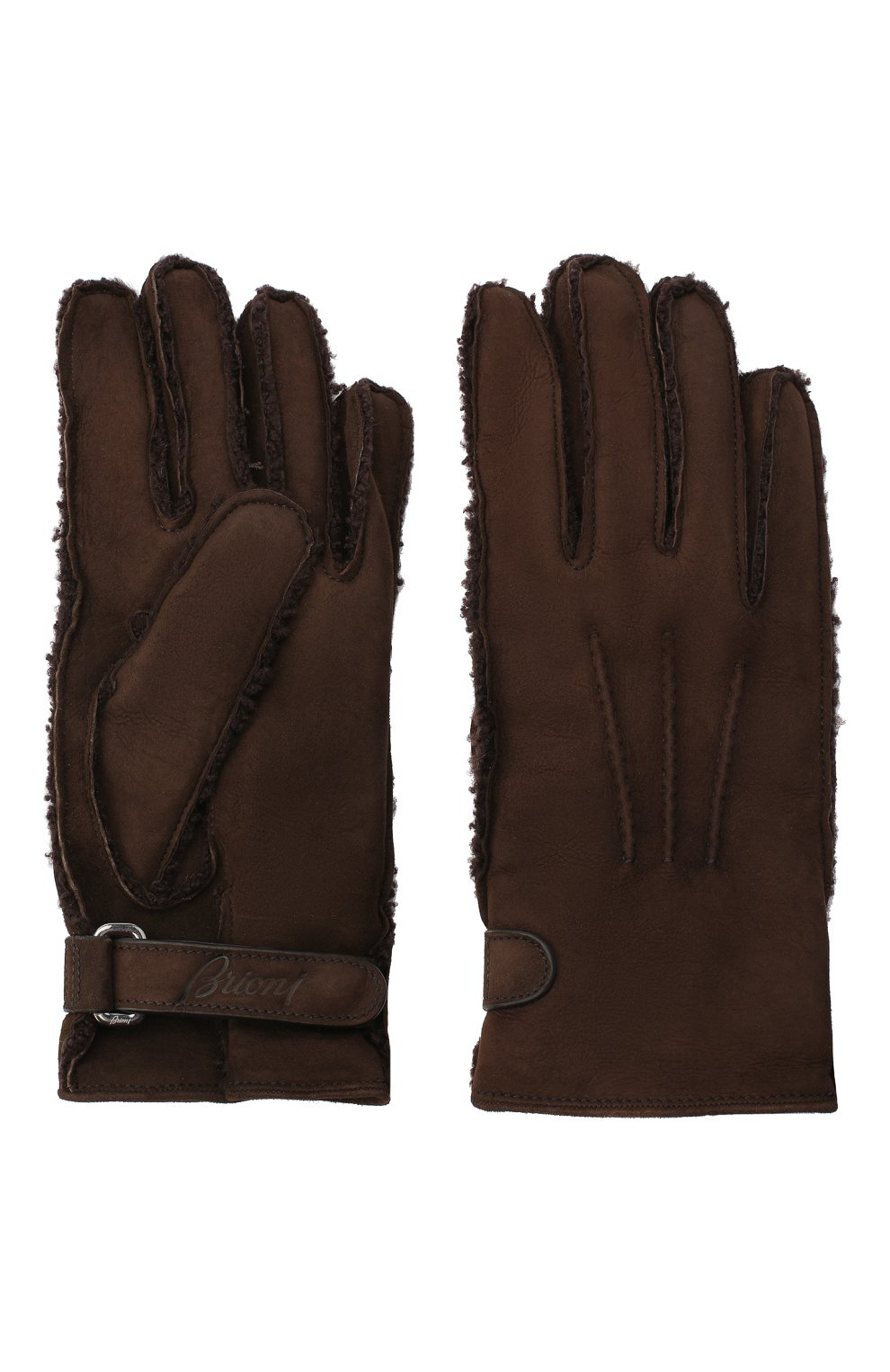 Мужские замшевые перчатки BRIONI темно-коричневого цвета, арт. 05SI0L/09727 | Фото 2
