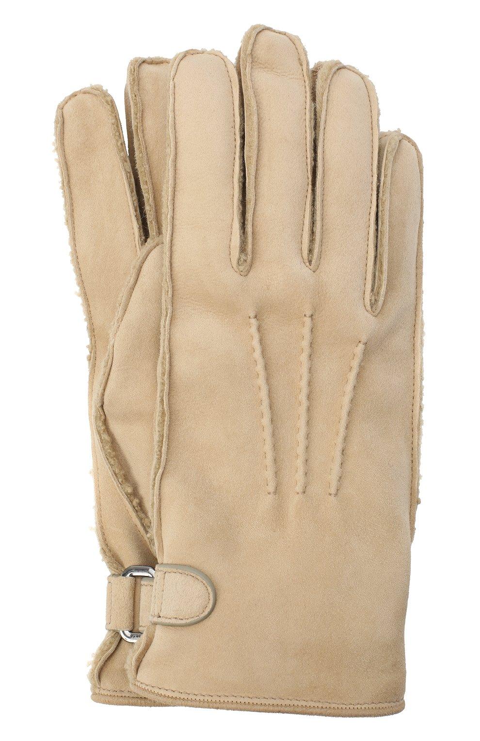 Мужские замшевые перчатки BRIONI бежевого цвета, арт. 05SI0L/09727   Фото 1