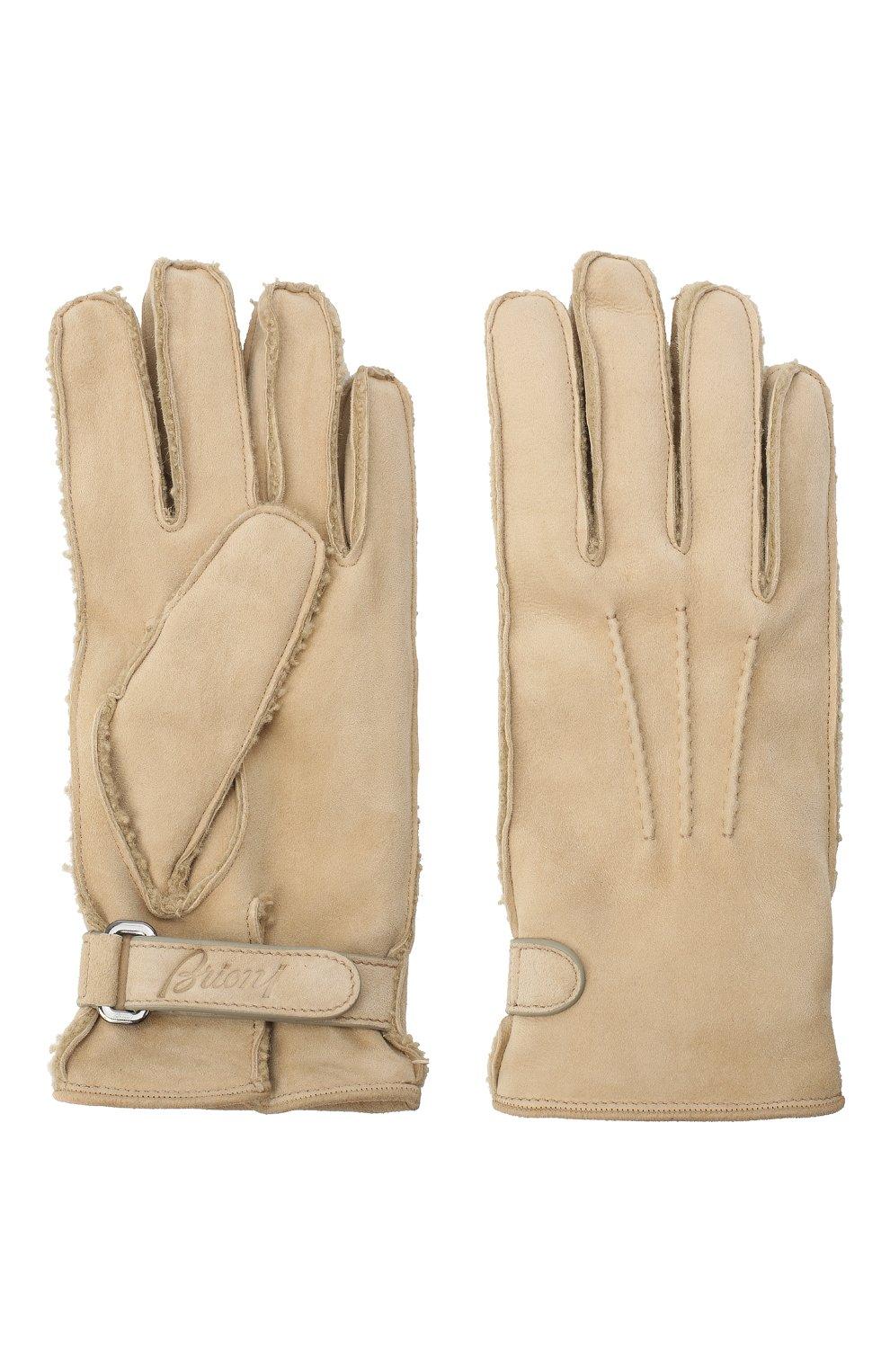 Мужские замшевые перчатки BRIONI бежевого цвета, арт. 05SI0L/09727   Фото 2
