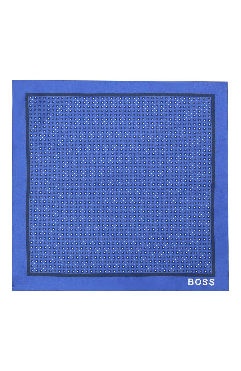 Мужской шелковый платок BOSS синего цвета, арт. 50441130 | Фото 3