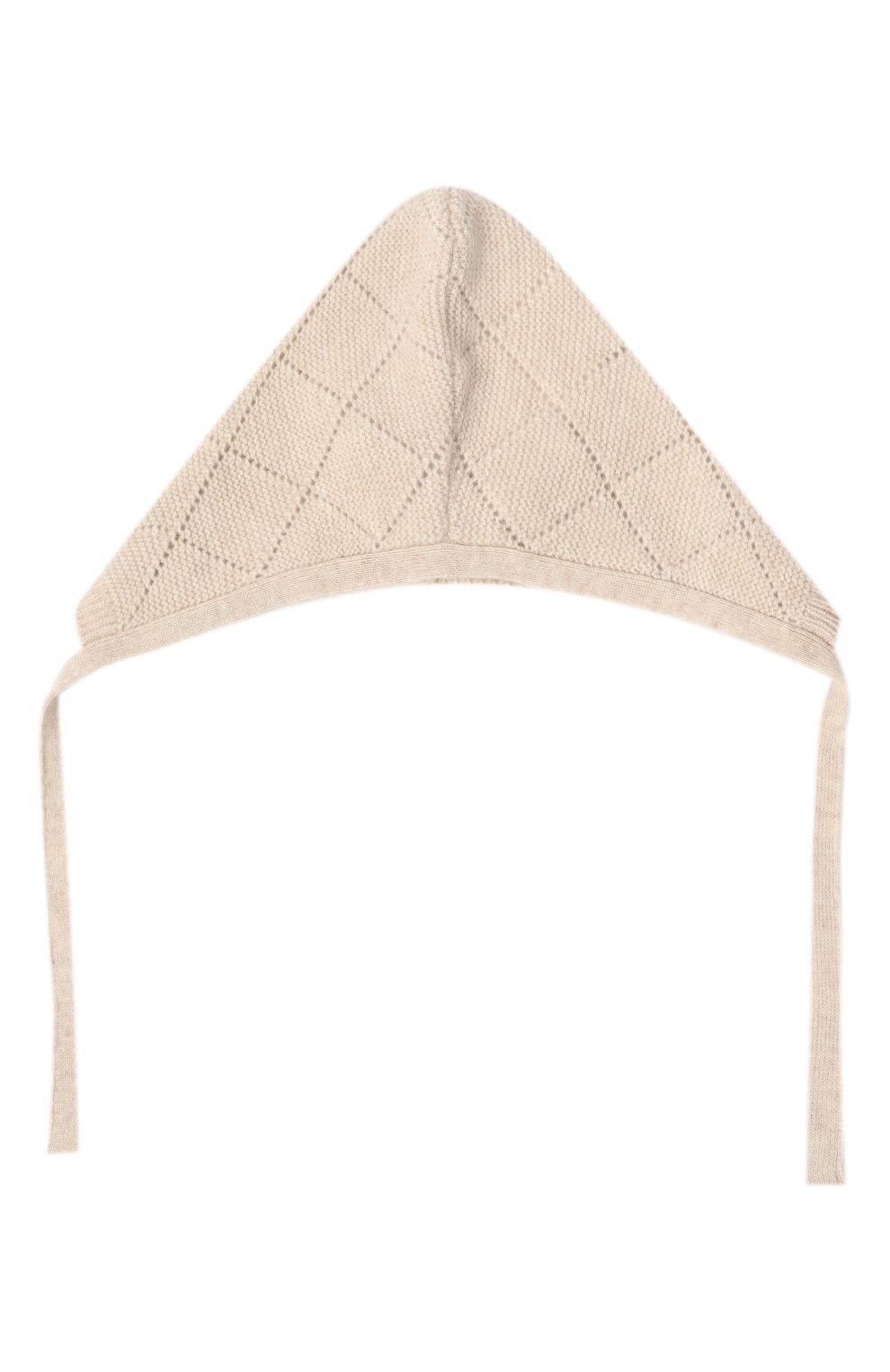 Детского кашемировая шапка OSCAR ET VALENTINE бежевого цвета, арт. BEG03   Фото 2