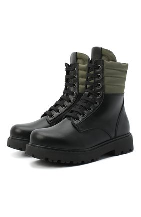 Детские кожаные ботинки FENDI черного цвета, арт. JMR337/AD7G/20-26 | Фото 1