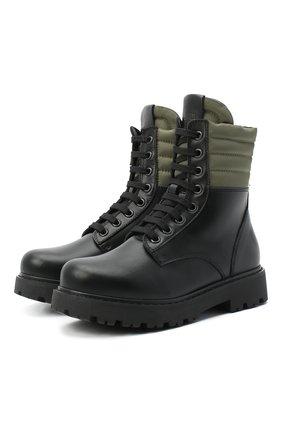 Детские кожаные ботинки FENDI черного цвета, арт. JMR337/AD7G/32-39 | Фото 1