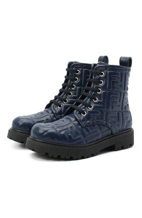 Детские кожаные ботинки FENDI темно-синего цвета, арт. JMR338/AADS/32-39 | Фото 1